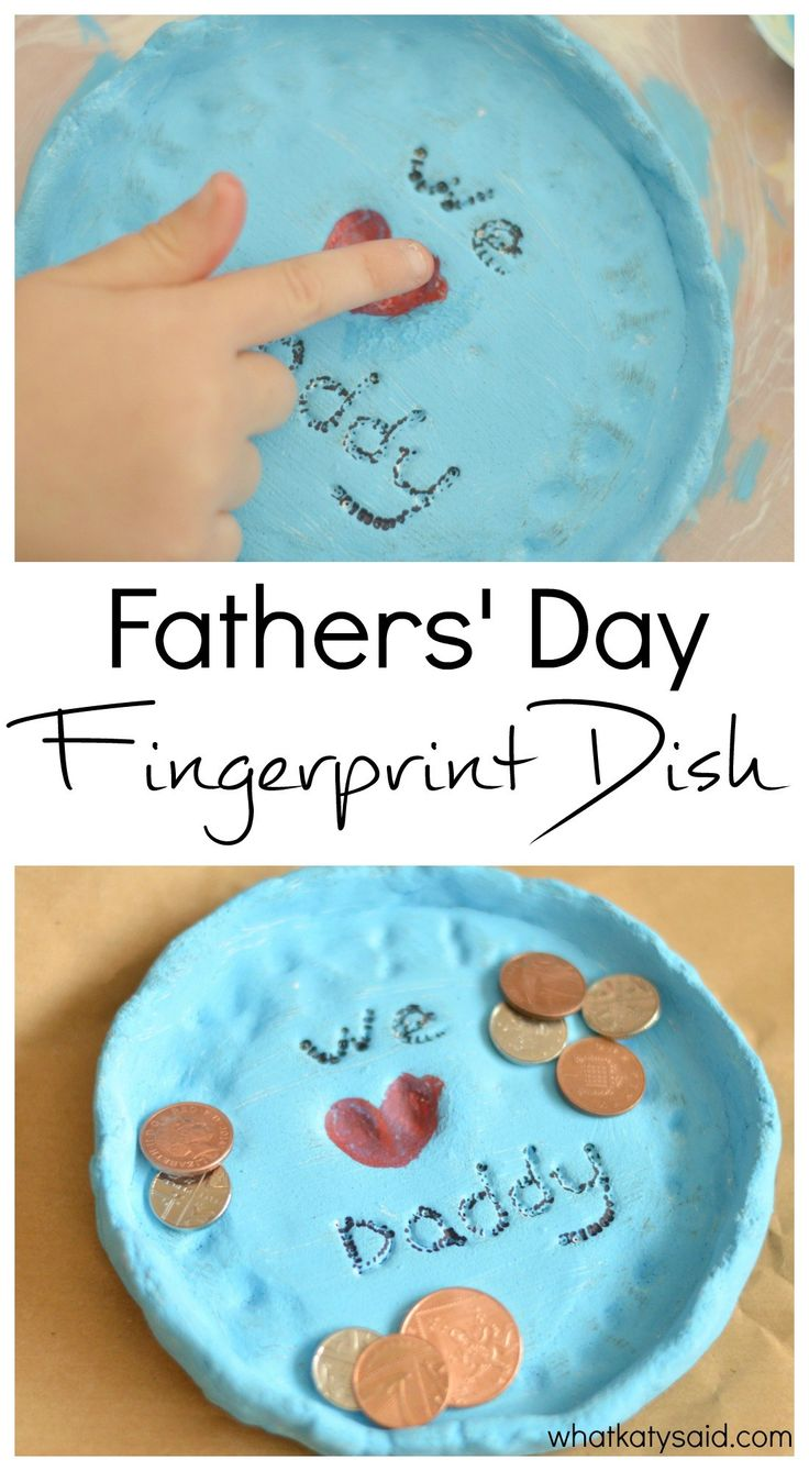 Fathers' Day Fingerprint Dish! A great DIY craft and gift for kids to make this dad this spring!
