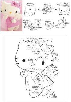 Free Hello Kitty Angel Felt Sewing Pattern / Template