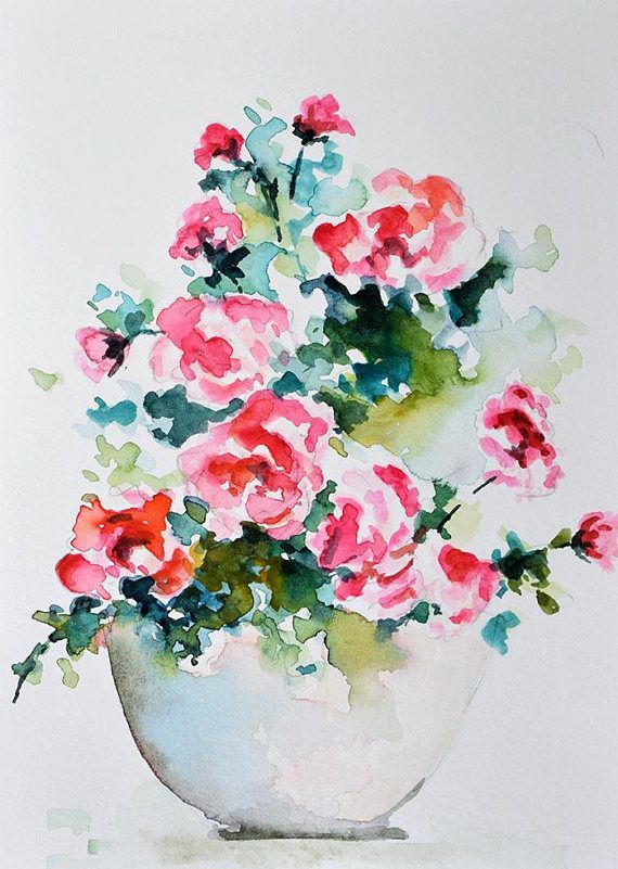 Original Watercolor Flower Painting Wild Roses Bouquet Pink Red