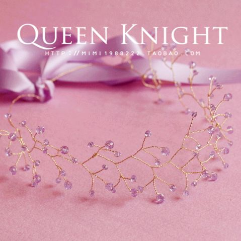 Handmade на заказ фиолетовые хрустальных пластин мягкие волосы группы ленты для волос невесты невесты головной убор - Taobao