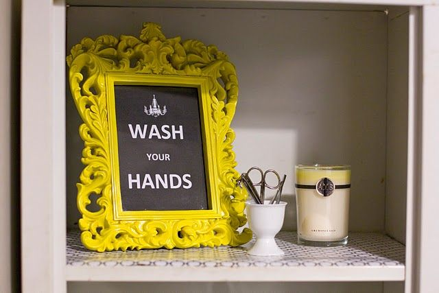 I just recently put up some shelving in my bathroom and I have been looking for some ideas to decorate them.  This is perfect!  I am making my own sign that is more my style but I love the message.