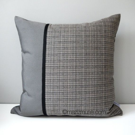 SALE  Grey Tweed Pillow Cover Modern Outdoor Pillow by Mazizmuse