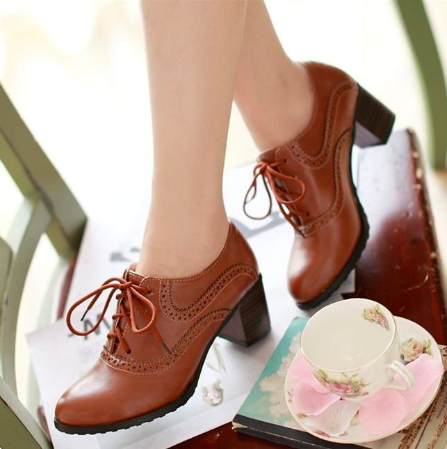 Brogue Womens Oxford Lace Up Wing Tip Retro Mid Chunky Heel Slip On Shoe 4 Color