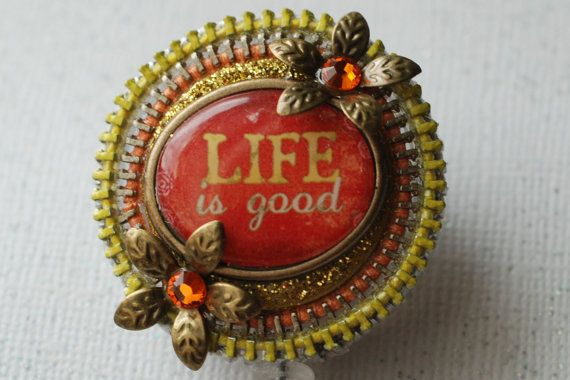 Life Is Good Vintage Zipper ID Badge Reel by ZipperedHeart on Etsy, $12.00