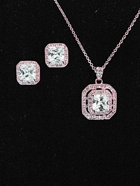 A beautiful cushion cut CZ crystal set in 18K plated rose gold (18 chain adjustable, stud earrings for pierced ears) - elegant vintage style wedding