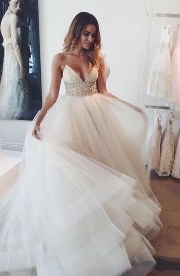 2016 A-line Wedding Dresses Spaghettis Straps Beaded Waist Tiers Romantic Bridal Gowns