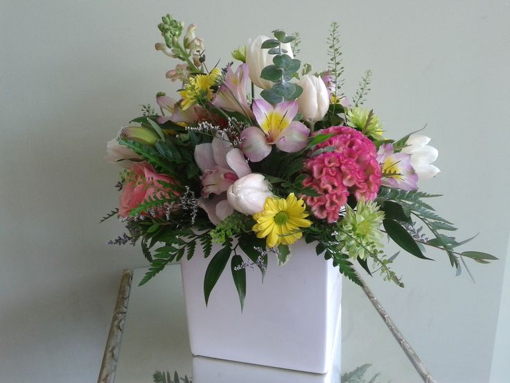 Colorful arrangement in white cube