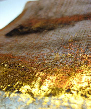 Thermochromic print with gold laminated surface, by Textile Designer Marie Ledendal - marieledendal.se