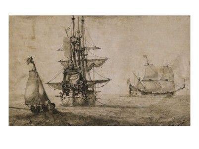 """""""Vaisseau à l'Ancre et Faisant Voile"""",  par Pierre   Puget"""