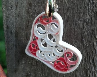 Carta Quilling peonia fiore pendente di SweetheartsandCrafts
