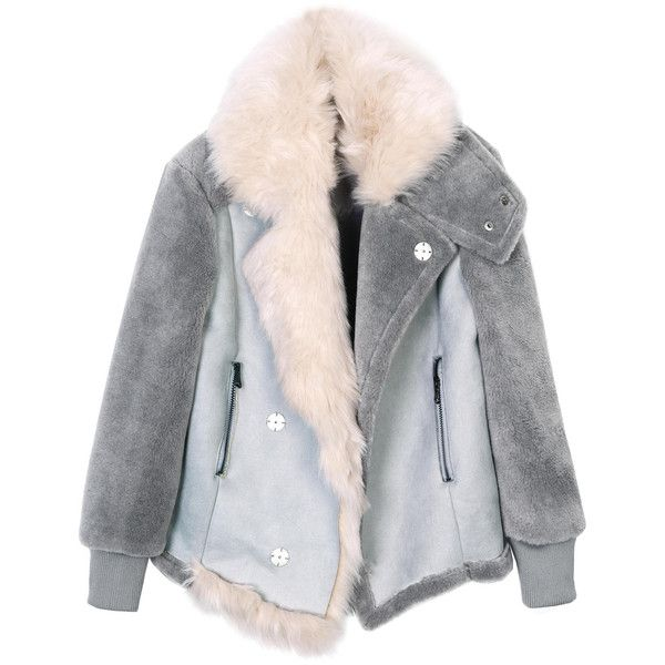 Bunny Suede Coat Indigo ($469) ❤ liked on Polyvore featuring outerwear, coats, jackets, tops, faux fur collar coat, bunny coat, suede leather coat, leather-sleeve coats and suede coat