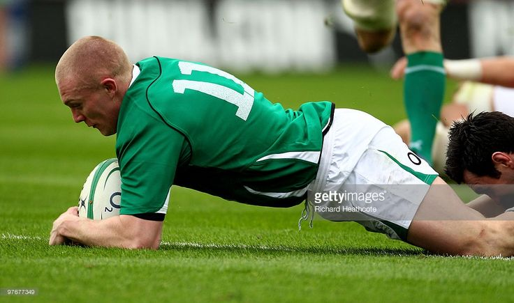 Keith Earls of Ireland dives over to score the first try during the RBS Six Nations match between Ireland and Wales at Croke Park Stadium on March 13, 2010 in Dublin, Ireland.