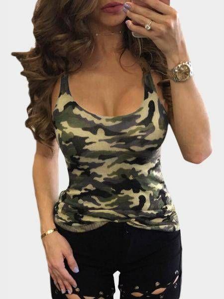 78efdae5524cc Sexy Camouflage Print Scoop Neck Cami top vest yoins