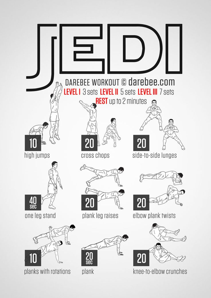 No-equipment jedi bodyweight workout for all fitness levels. Visual guide: print & use.
