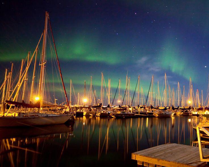 Taken at the Gimli harbour on Lake Winnipeg in Gimli, Manitoba. Harbour Aurora by winnipegkevin