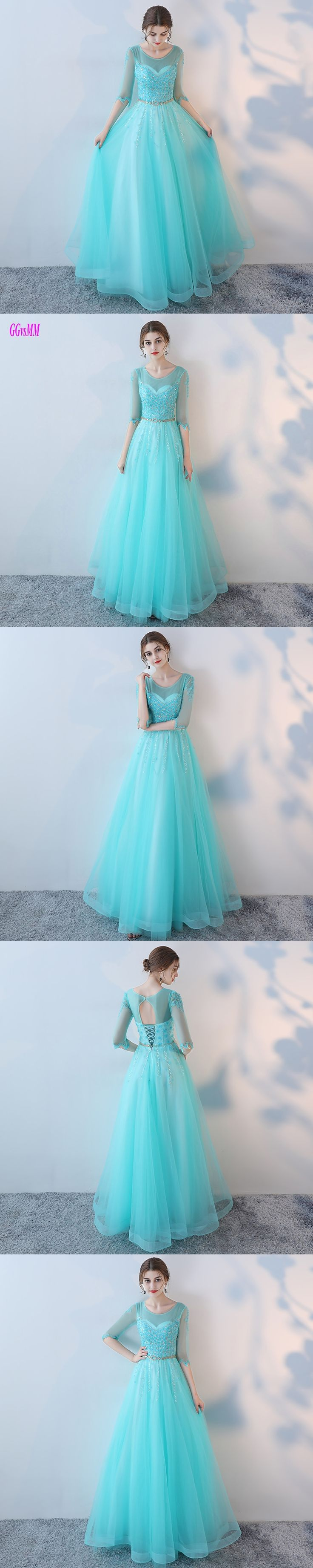 Real Photos Sexy Ice Blue Long Evening Dresses 2017 Scoop Elastic Satin Formal Dress Tulle Appliques Lace-Up Evening Party Gowns
