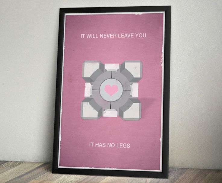 Portal Inspired Vintage Poster  Companion Cube by ThePixelEmpire, $18.00