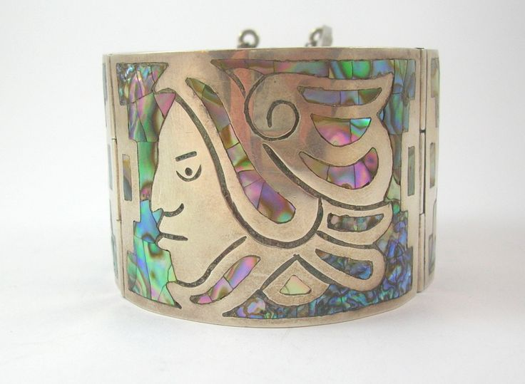 Amazing Abalone Shell Inlay Wide Cuff Bracelet with Aztec Design (From our sold archive)