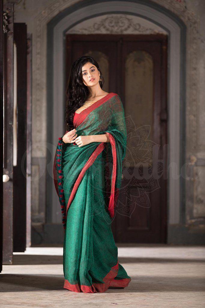 Bottle Green Linen Handloom Saree With Plain Border