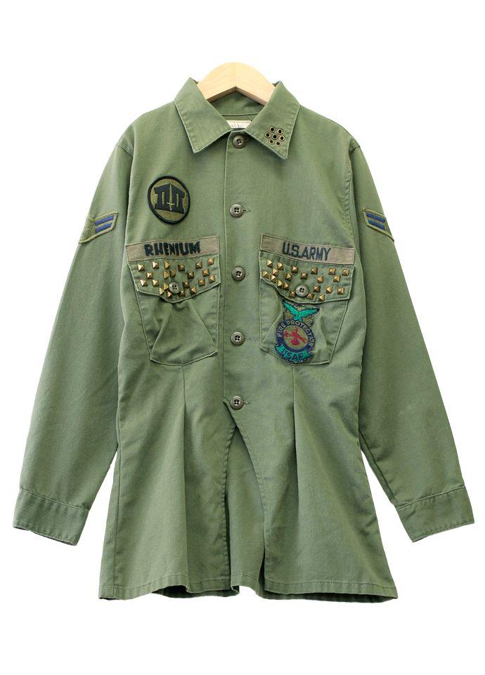 One ☆ ☆ remake vintage military shirt jacket Womens olive UKR456 patch studs