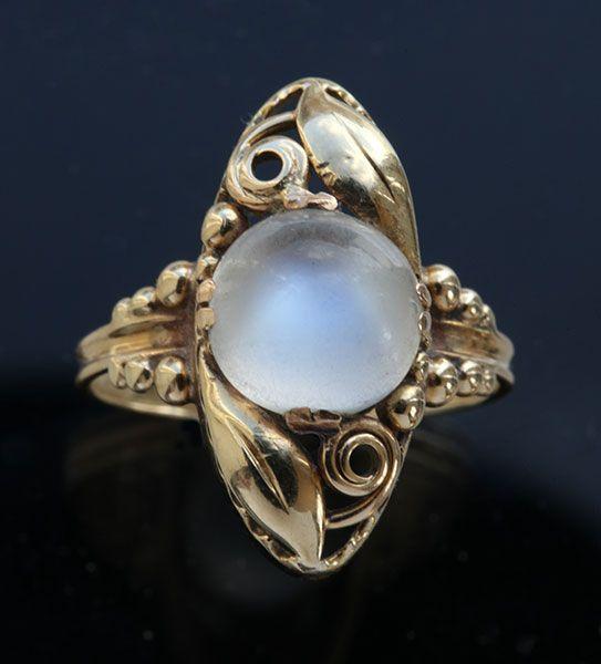 ART NOUVEAU Ring / Gold Moonstone /  Marks: '585' & artist's monogram 'ChrV' European, c.1910