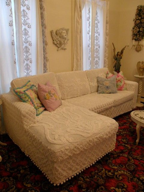 Slipcover made from vintage chenille bedspreads...