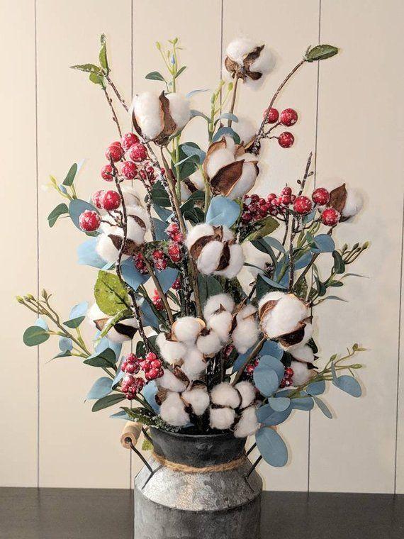 Cotton Stems Eucalyptus W Red Berries In Galvanized Milk Can Farmhouse Decor Cotton Stem Arrang 2019 Cotton Stems E Milk Can Decor Farmhouse Decor Decor
