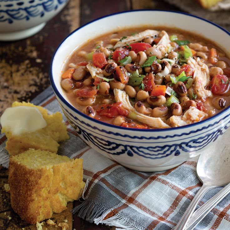 This Chicken and Black-Eyed Pea Stew is the perfect hearty dinner on a chilly night. Use a grocery store rotisserie chicken to give this soup extra flavor.