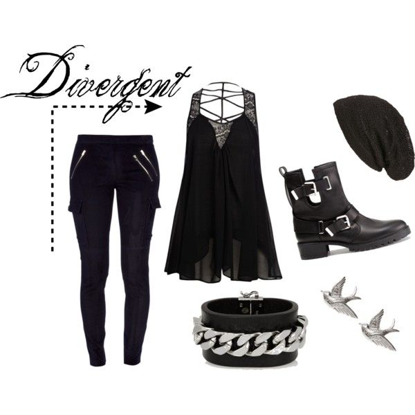 "#Rock style inspired by the edgy #Dauntless in the #Divergent book series by Veronica Roth. When Tris joins the Dauntless, her choice comes with a whole new wardrobe. Lots of black, zipper detailing, strappy shirts to show off the tattoos, and combat boots...and the ""Put A Bird On It"" style earrings match Tris' tattoo of three birds flying across her collarbone."