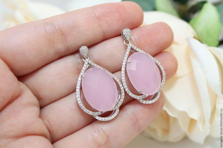 Купить Серьги серебро 925 с халцедоном Розовые гвоздики серебряные - серьги с камнями, серьги в подарок