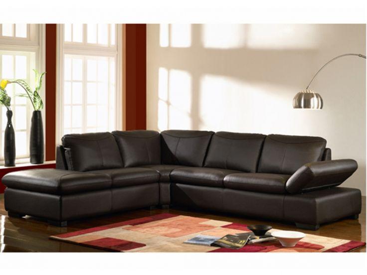 Canapé d'angle en cuir ONYX II - Chocolat - Angle gauche