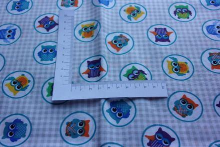 Dimension 1,45x0,50m  Motifs  hibou multicolore sur fond carreau gris    Matière coton imprimée Pour confection vêtements, linge de lit , objet de décoration, accessoires  - 9203549