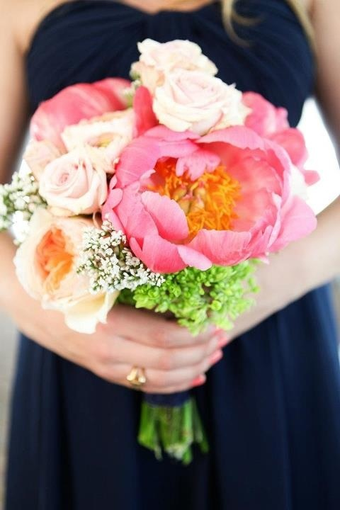 My gorgeous wedding flowers Coral wedding Bloombyashley.com Peonies, garden roses, ranunculus Navy and coral pink wedding