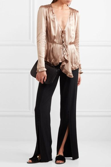 Tomas Maier - Pleat-trimmed Silk-charmeuse Blouse - Gold