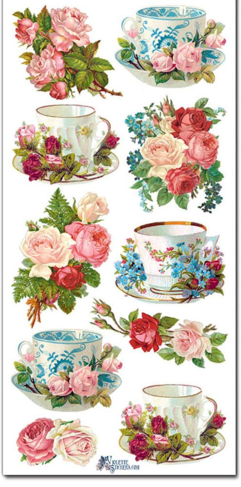 Stickers-TEACUPS & ROSES-Great For All Paper Crafting-Violette Stickers #VioletteStickers