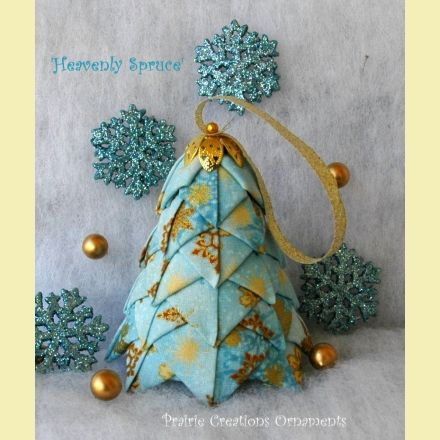 Quilted Fabric Christmas Tree Ornament Pattern and Kit | Prairie Creations Ornaments