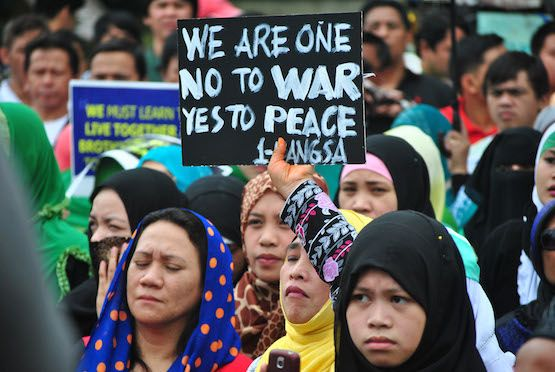 Muslims in Manila call for the passage of the Bangsamoro Basic Law that is supposed to create an autonomous Moro region in Mindanao. Description from ucanews.com. I searched for this on bing.com/images