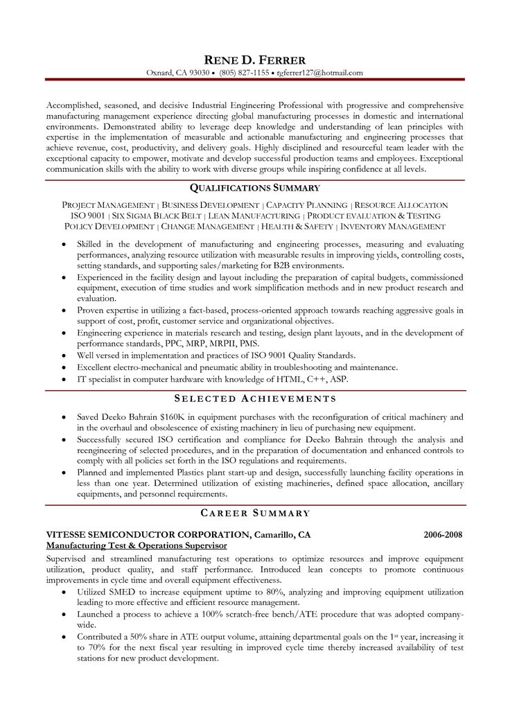 resume for manufacturing engineer