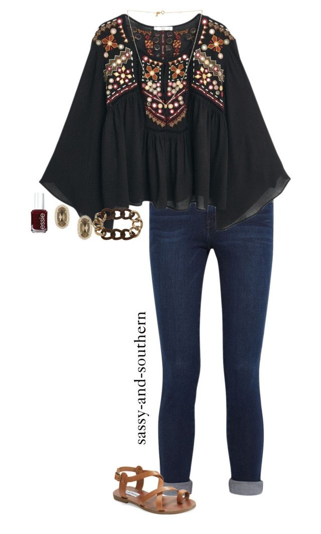 """bohemian outfit :)"" by sassy-and-southern ❤ liked on Polyvore featuring Frame Denim, MANGO, Kendra Scott, Steve Madden, Sydney Evan, Essie and sassysouthernfall"