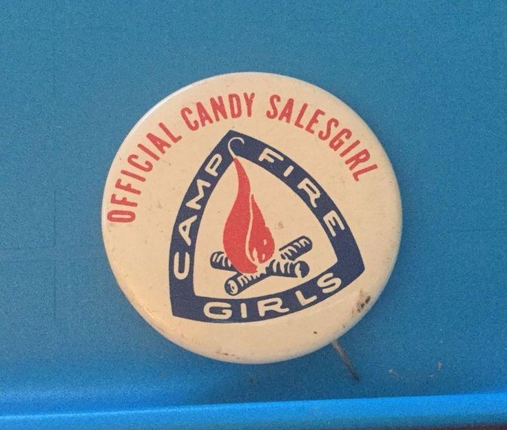 "Vintage Campfire Girls Official Candy Salesgirl Pinback Pin 1 1/4""    eBay"