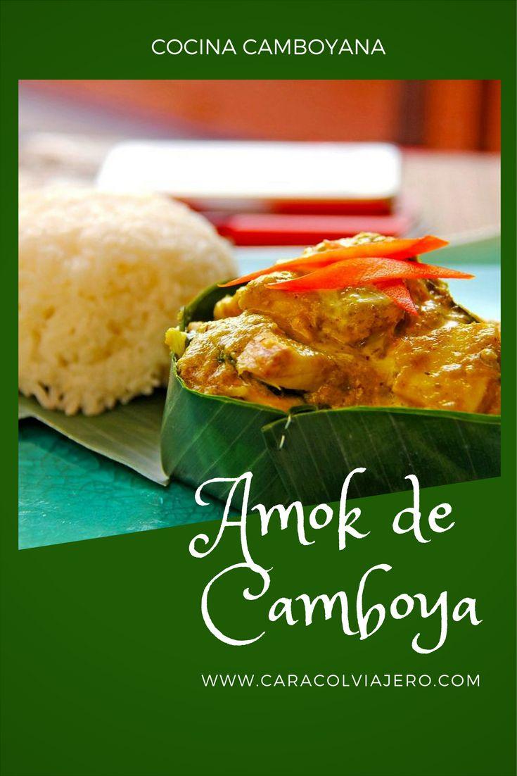 El plato típico de Camboya está hecho a base de pescado, leche y crema de coco y especias.  #coco #pescado #curry