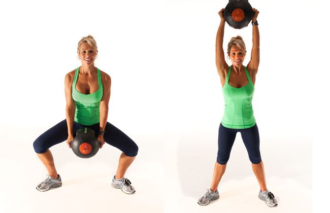Sumo squat with medicine ball. Tone your arms, quads and abs.