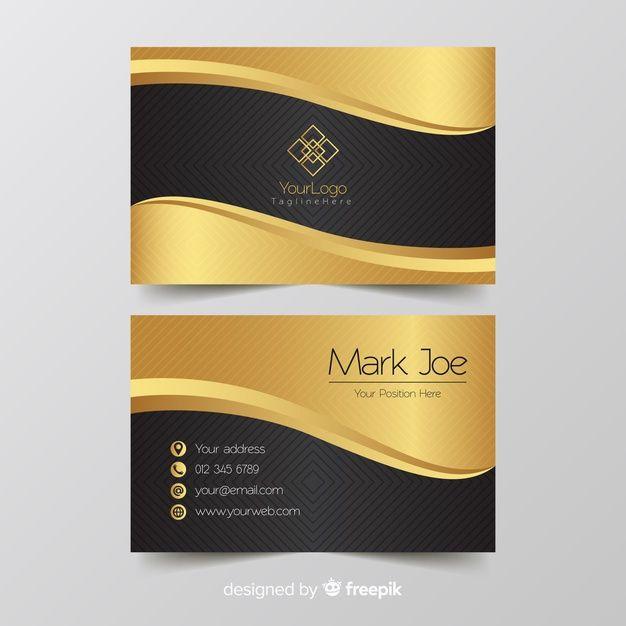 Business Card Template Golden Details Free Business Card Design Business Card Logo Design Vector Business Card