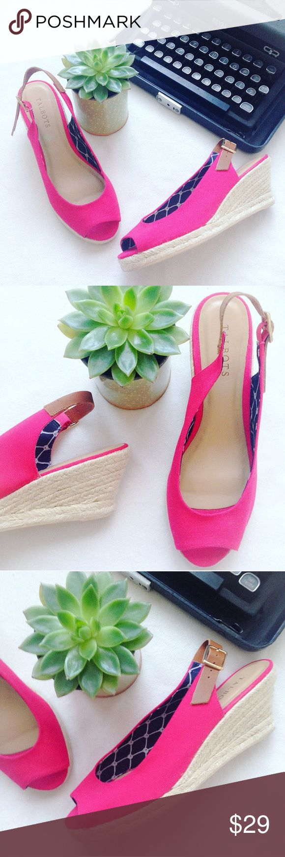 NWOT Talbots Pink Espadrille Wedges These incredibly adorable and stylish NWOT pink espadrille wedges from Talbots are perfect for your upcoming Spring wardrobe! Pink canvas, with a lovely navy blue inside print detailing! So comfortable! These are NWOT NEVER WORN! Perfect condition! ✨ALL PURCHASES COME WITH LOVELY FREE GIFTS✨ Talbots Shoes Espadrilles