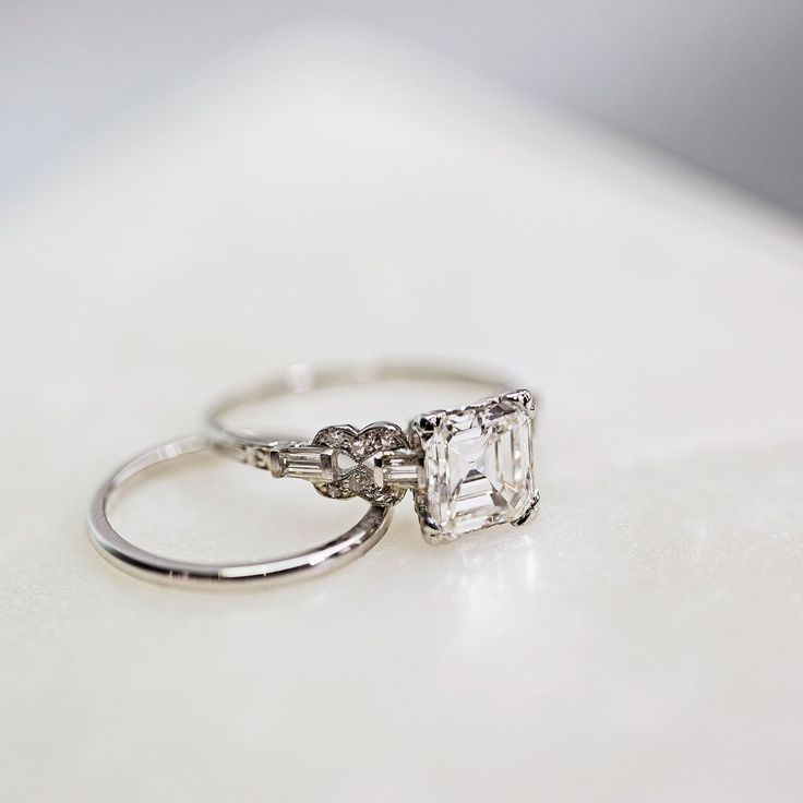Vintage platinum Art Deco Asscher diamond engagement ring by Trumpet & Horn // Laurel Canyon // $33,250