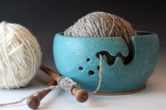 Bridges Pottery Yarn Bowl Turquoise seen in by bridgespottery, $40.00