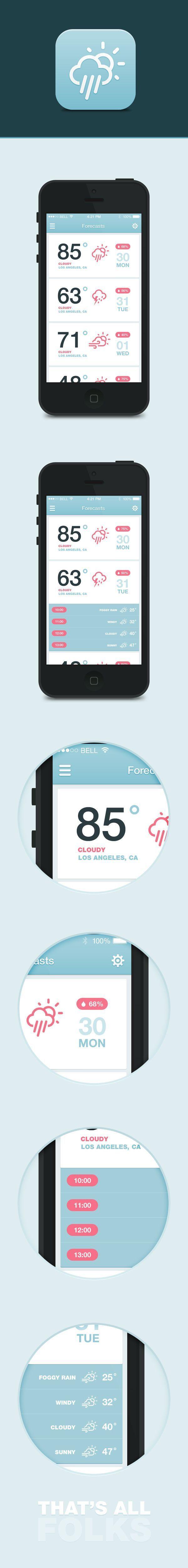 Inspiration Mobile #19 : Applications météo | Blog du Webdesign