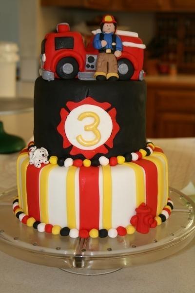 Firefighter & Fire Truck Birthday Cake