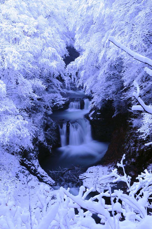 Waterfall in Snow, Sendai, Miyagi, Japan