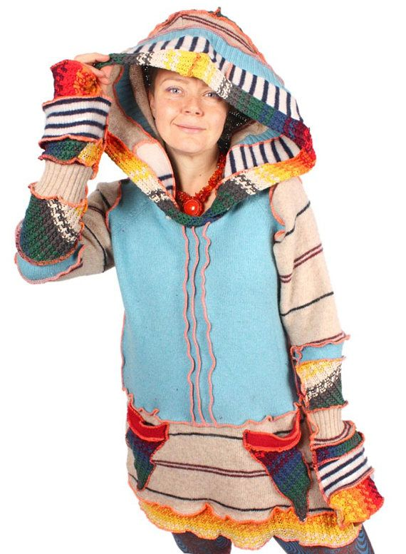Jupiter is a jolly pullover tunic with a storm of rainbow